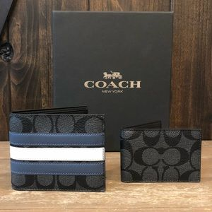 NWT Authentic Coach 3-in-1 Varsity Stripe Wallet